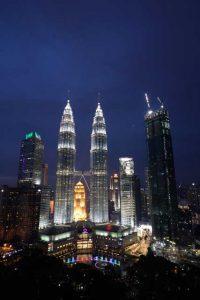 Petronas Twin Towers - vanaf Skybar nacht
