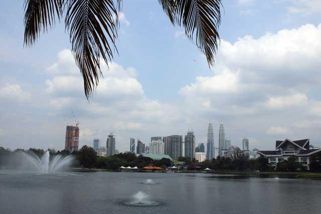 Skyline van Kuala Lumpur vanaf Titiwangsa Park