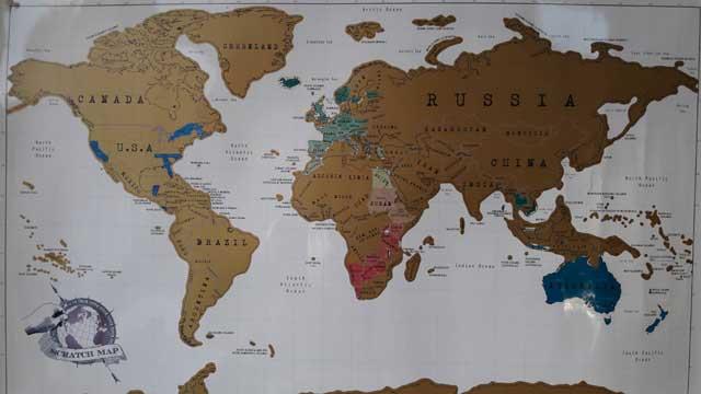 Start wereldreis - wereldkaart