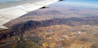 Uitzicht vliegtuig over landbouw in Wyoming