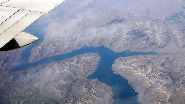 Uitzicht vliegtuig boven Wyoming
