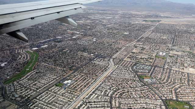 Uitzicht vliegtuig boven Las Vegas