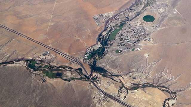 Uitzicht vliegtuig tussen Salt Lake City en Las Vegas