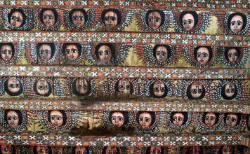 Engeltjesplafond in Debre Berhan Selassie kerk in Ethiopië