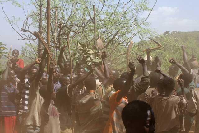 Konso-mannen in Ethiopie dansen zwaaiend met hun werktuigen boven hun hoofd