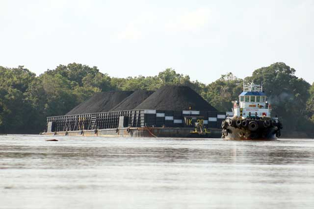 Mahakam rivier in Kalimantan: Kolentransport over de Mahakam rivier