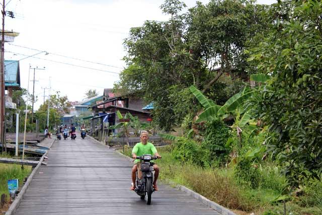Mahakam rivier in Kalimantan: Een houten steigerweg in Muara Muntai
