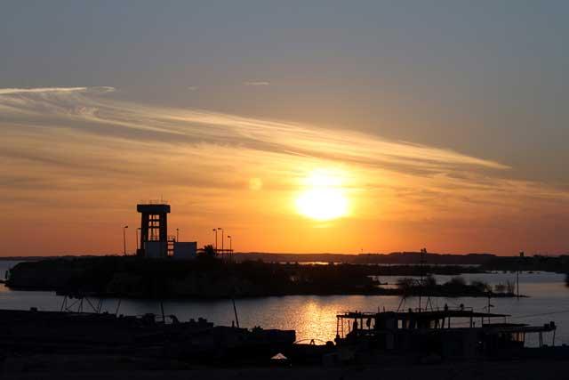 Zonsondergang bij vertrek uit Egypte met de ferry naar Sudan (Soedan)