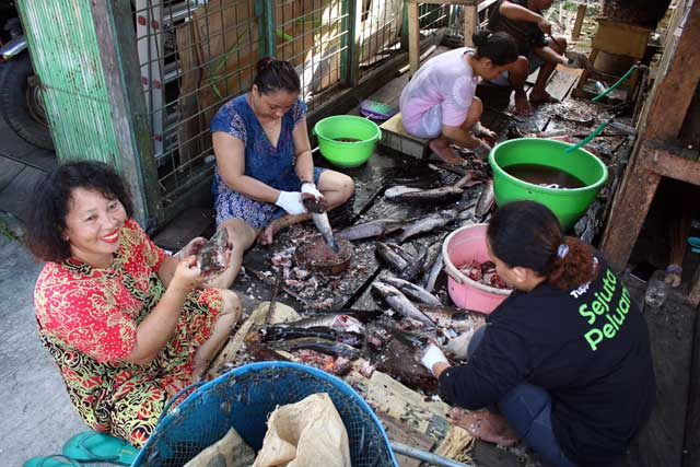Mensen langs de Mahakam rivier in Kalimantan - Vrouwen fileren vis